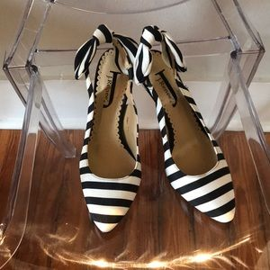 Striped Bow Heels